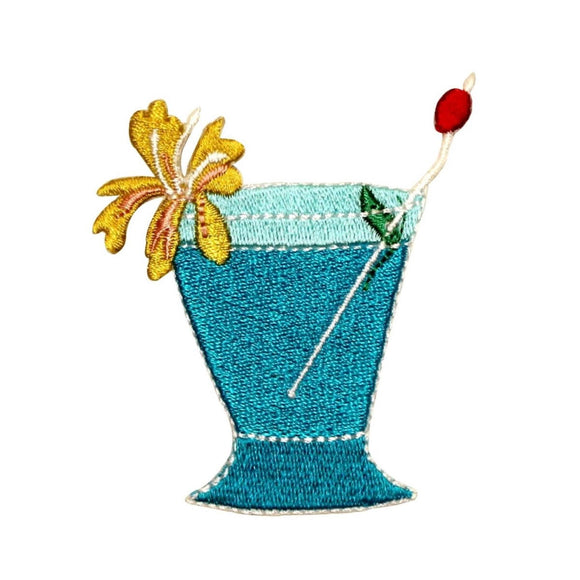 ID 1130 Blue Hawaii Cocktail Patch Alcohol Drink Embroidered Iron On Applique