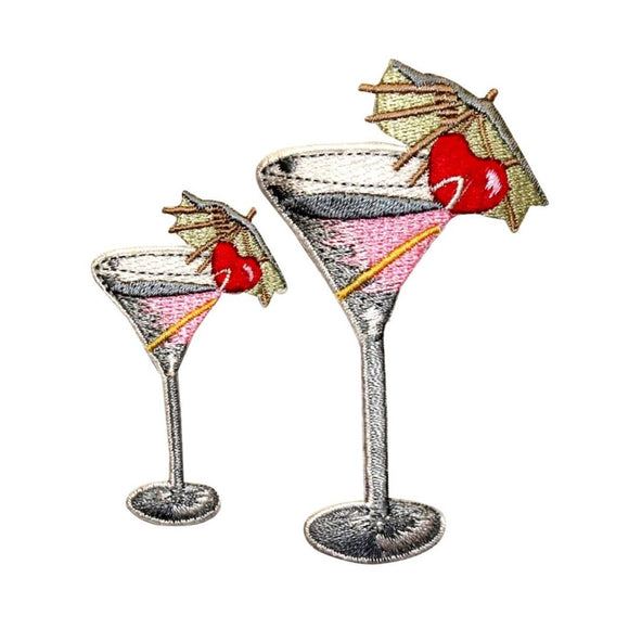 ID 1144AB Set of 2 Martini With Umbrella Patches Embroidered Iron On Applique