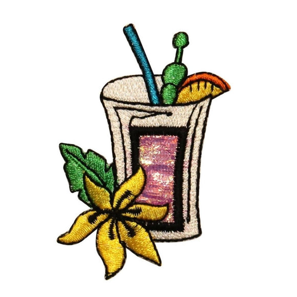 ID 1152 Fruity Cocktail Patch Vacation Mix Drink Embroidered Iron On Applique