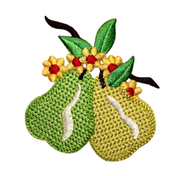 ID 1166 Pears Flowering Patch Summer Fruit Tree Embroidered Iron On Applique