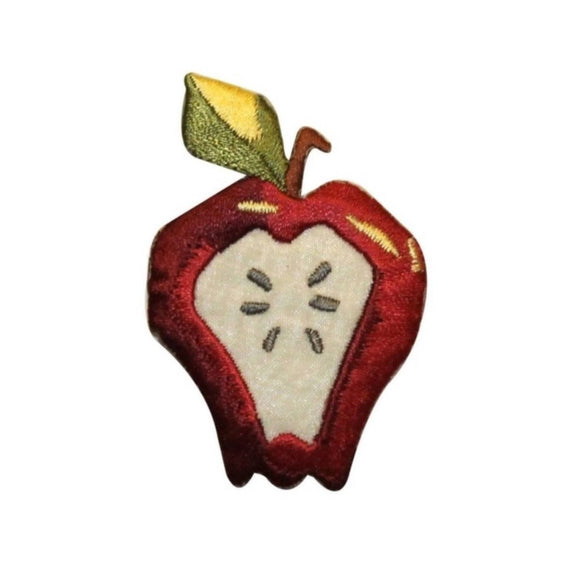 ID 1189A Apple With Seeds Patch Summer Lunch Snack Embroidered Iron On Applique