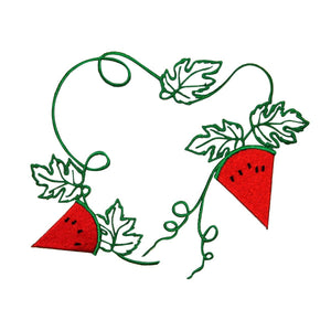 ID 1198Z Watermelon Slices On Vine Patch Summer DIY Embroidered Iron On Applique