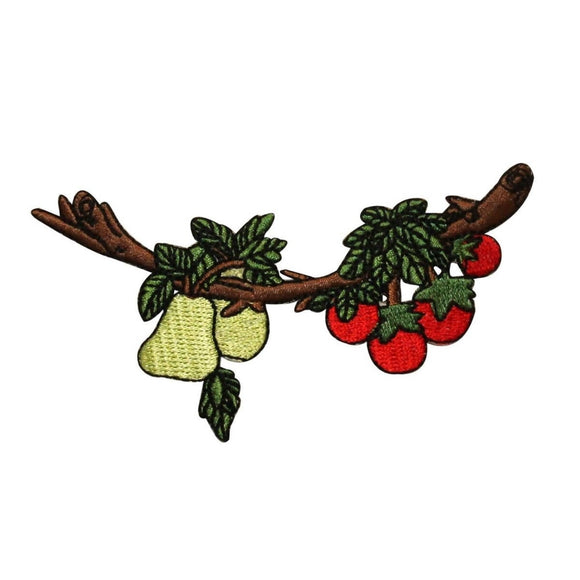 ID 1208 Fruit On Tree Patch Pear Apple Growing Embroidered Iron On Applique