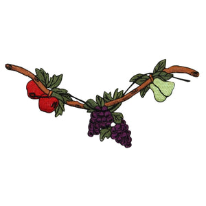 ID 1208Z Fruit Growing On Tree Patch Apple Pear Embroidered Iron On Applique
