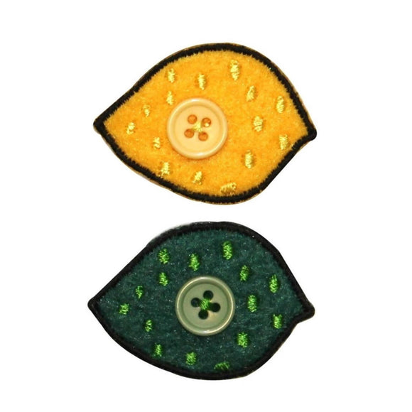 ID 1212AB Set of 2 Felt Lemon and Lime Patches Embroidered Iron On Applique
