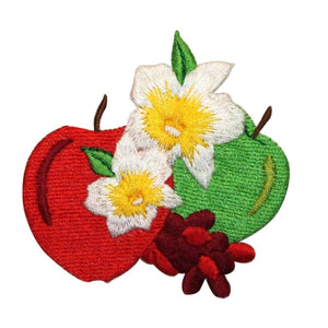 ID 1219X Pair of Apples Patch Flowering Summer Embroidered Iron On Applique