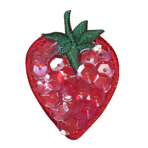 ID 1221A Strawberry With Sequins Patch Fruit Food Embroidered Iron On Applique