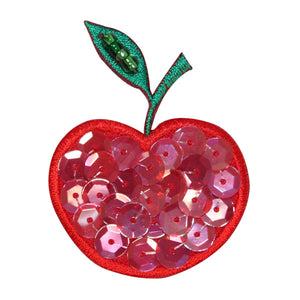 ID 1221D Cherry With Sequins Patch Fruit Food Sweet Embroidered Iron On Applique