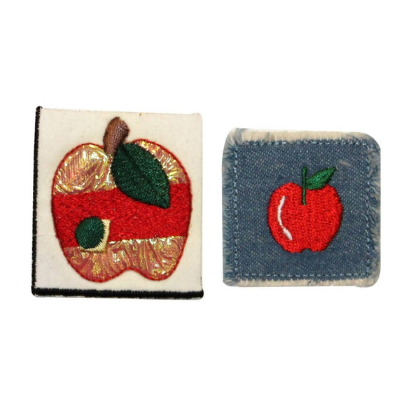 ID 1229AB Set of 2 Apple Craft Patches Tree Fruit Embroidered Iron On Applique