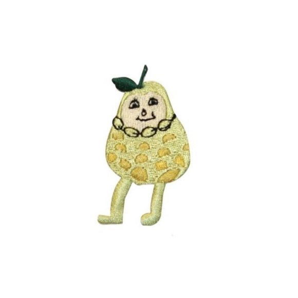 ID 1290A Happy Pear Character Patch Cartoon Fruit Embroidered Iron On Applique