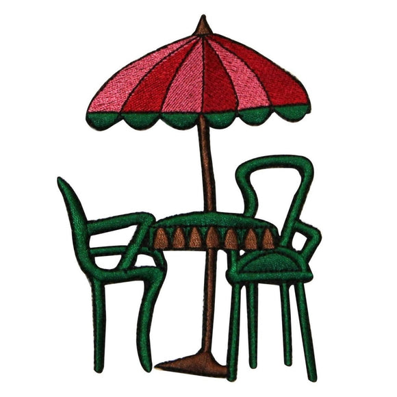 ID 1293Z Patio Table With Umbrella Patch Cafe Dine Embroidered Iron On Applique