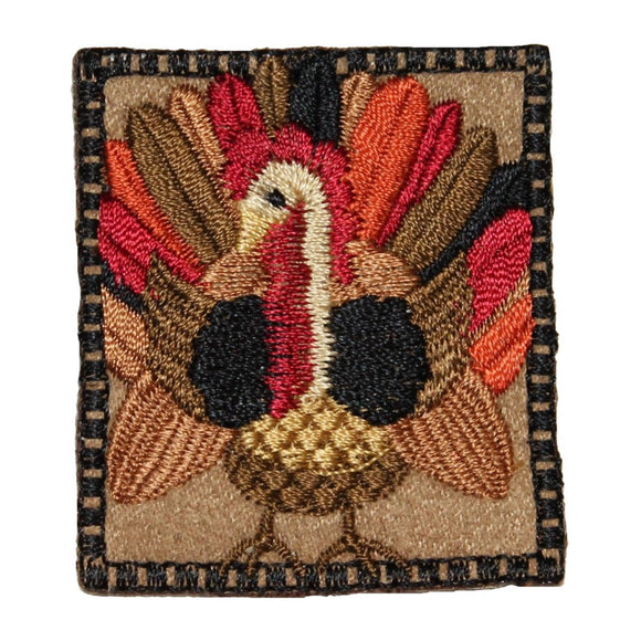 ID 1330 Thanksgiving Turkey Badge Patch Harvest Embroidered Iron On Applique
