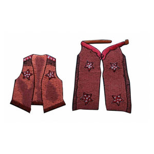 ID 1369AB Set of 2 Cowboy Show Cloth Patches Dress Embroidered Iron On Applique
