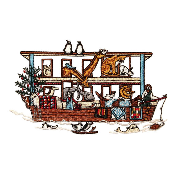 ID 0589 Bible Story Noah's Arc Patch Animal Boat Embroidered Iron On Applique