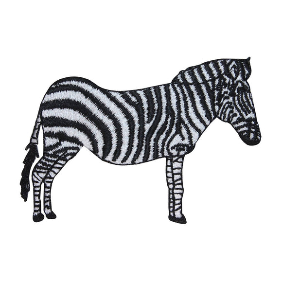 ID 0635 Zebra Standing Patch Wild Animal Safari Zoo Embroidered Iron On Applique