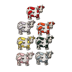 ID 0710A-G Set of 7 Cartoon Cow Patches Farm Animal Embroidered Iron On Applique