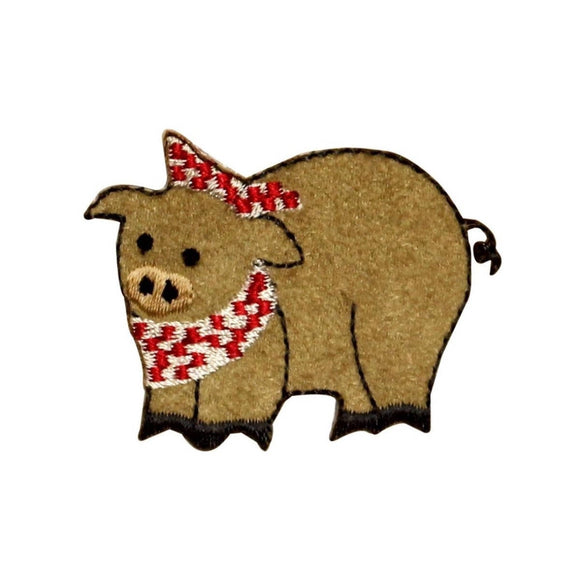 ID 0712 Pig With Bandana Patch Hog Dinning Bacon Embroidered Iron On Applique