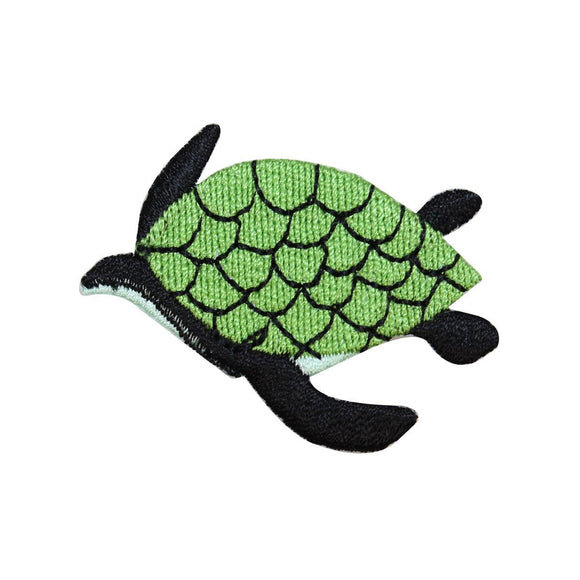 ID 0728C Sea Turtle Swimming Patch Ocean Life Embroidered Iron On Applique