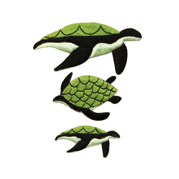 ID 0728ABC Set of 3 Sea Turtle Patches Ocean Life Embroidered Iron On Applique