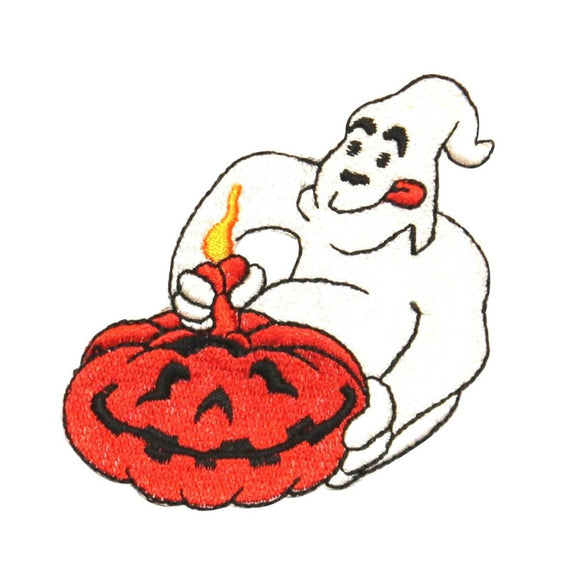 ID 0877 Ghost Carving Pumpkin Patch Halloween Carve Embroidered Iron On Applique