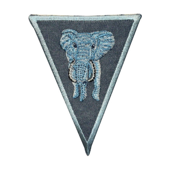 ID 0772 Elephant On Denim Patch Wild Zoo Badge Embroidered Iron On Applique
