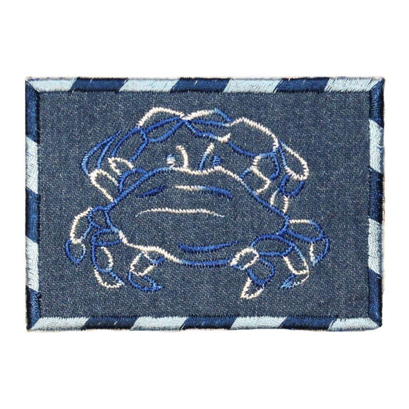 ID 0774 Crab Outline On Denim Patch Ocean Badge Embroidered Iron On Applique