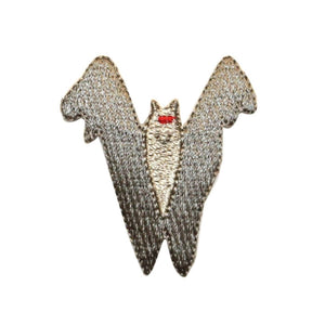 ID 0930 Silver Vampire Bat Patch Halloween Scary Embroidered Iron On Applique