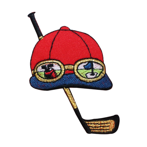 ID 1493 Golf Cap And Club Patch Glasses Golfing Tee Embroidered Iron On Applique