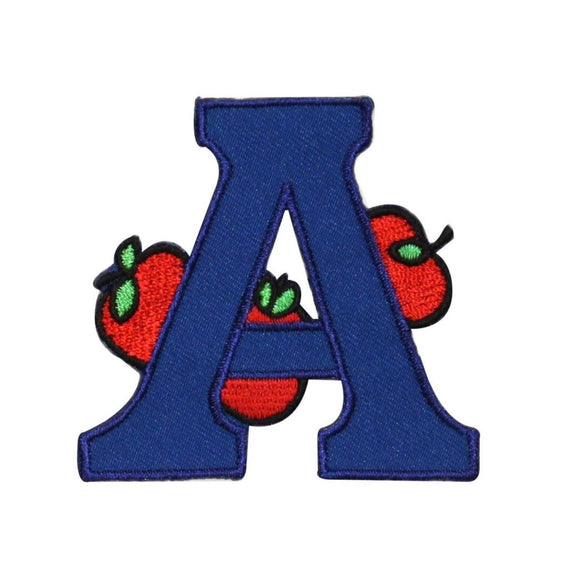 ID 0991 Letter A Apple Patch School Learning Read Embroidered Iron On Applique