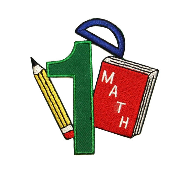 ID 0995 Number One Math Class Patch School Book Embroidered Iron On Applique