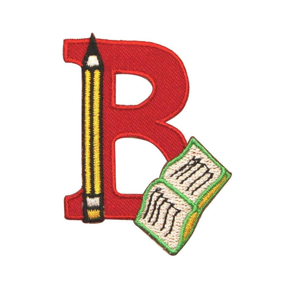 ID 0996 B is For Book Patch School Reading Learning Embroidered Iron On Applique