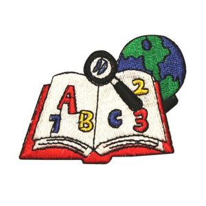 ID 1008 School Book With Globe Patch Learning Class Embroidered Iron On Applique