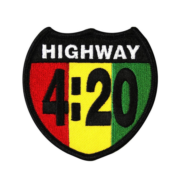 Highway 420 Rastafari Patch Cannabis Marijuana Pot Embroidered Iron On Applique
