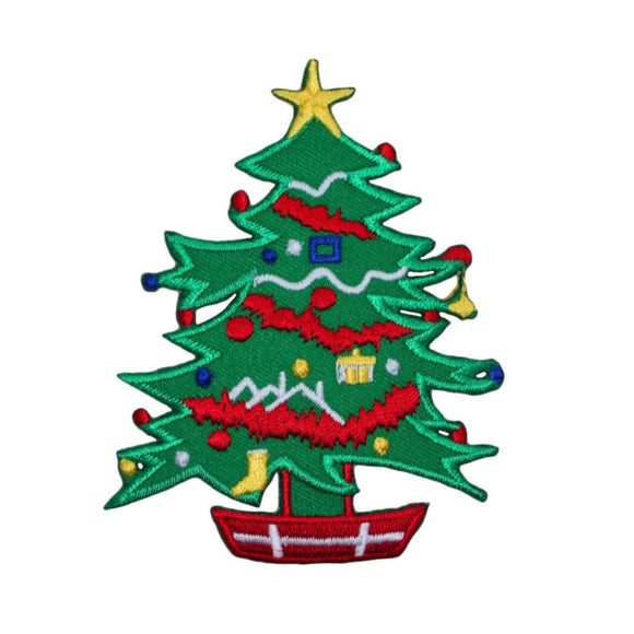 ID 8045 Christmas Tree Decorated Patch Pine Holiday Embroidered Iron On Applique