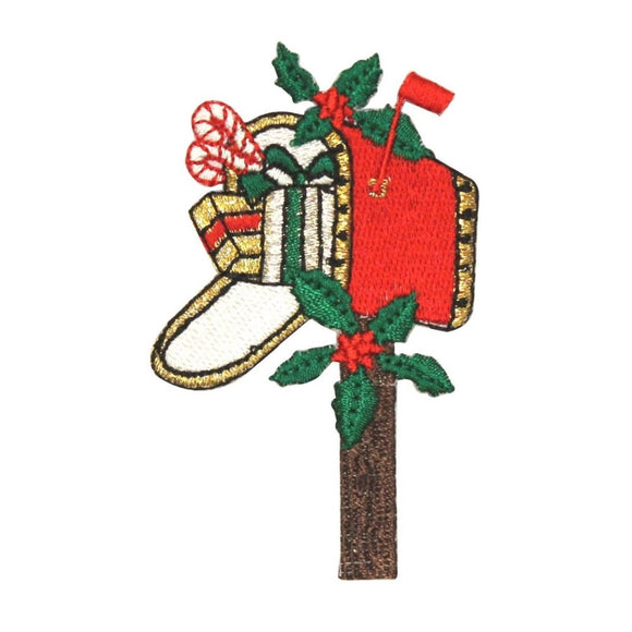 ID 8081 Mailbox Full With Presents Patch Christmas Embroidered Iron On Applique