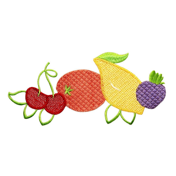 ID 1165 Group of Fruit Patch Summer Picnic Fruits Embroidered Iron On Applique