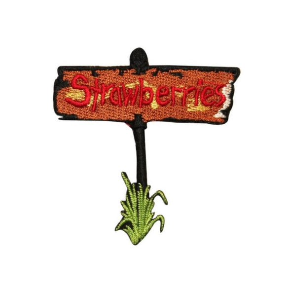ID 1185C Strawberries Farm Sign Patch Berry Bush Embroidered Iron On Applique