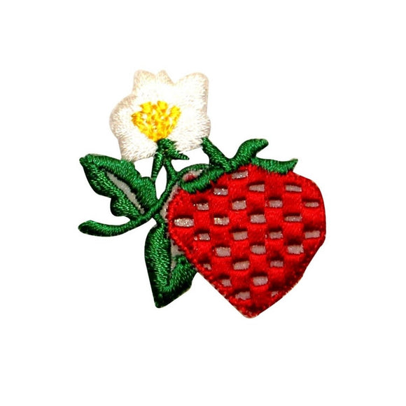ID 1190 Strawberry Flower Patch Fruit Growing Bush Embroidered Iron On Applique