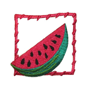 ID 1197 Watermelon Framed Patch Summer Fruit Badge Embroidered Iron On Applique