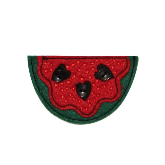 ID 1201B Slice of Watermelon Patch Summer Fruit Embroidered Iron On Applique