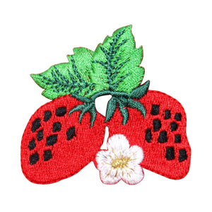 ID 1207V Pair of Strawberries Patch Summer Fruit Embroidered Iron On Applique