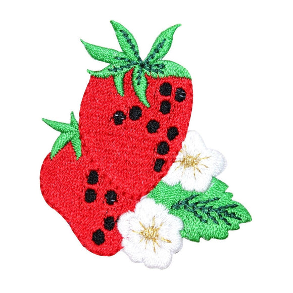 ID 1207W Strawberries On Bush Patch Summer Fruit Embroidered Iron On Applique