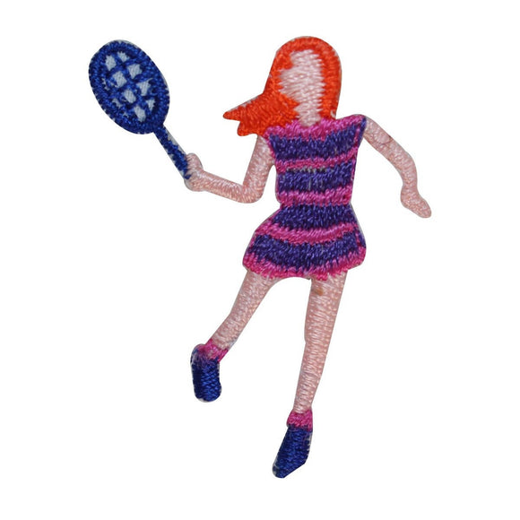 ID 1548 Woman Tennis Player Patch Hitting Racquet Embroidered Iron On Applique