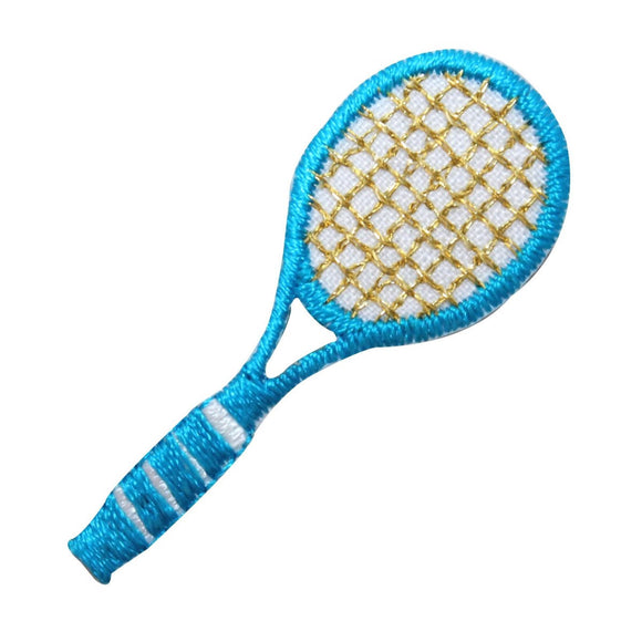 ID 1556 Tennis Racket Patch Teal Racquet Sports Embroidered Iron On Applique