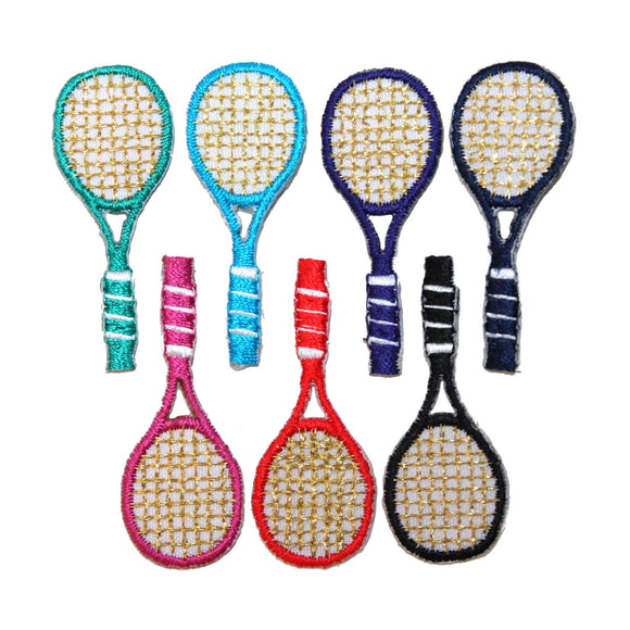 ID 1556-62 Set of 7 Colored Tennis Racket Patch Racquet Sports Iron On Applique