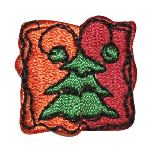 ID 8237 Lot of 3 Christmas Tree Badge Patch Pine Embroidered Iron On Applique