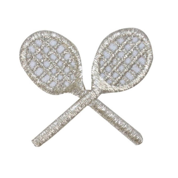 ID 1585A Silver Crossed Tennis Rackets Patch Sport Embroidered Iron On Applique