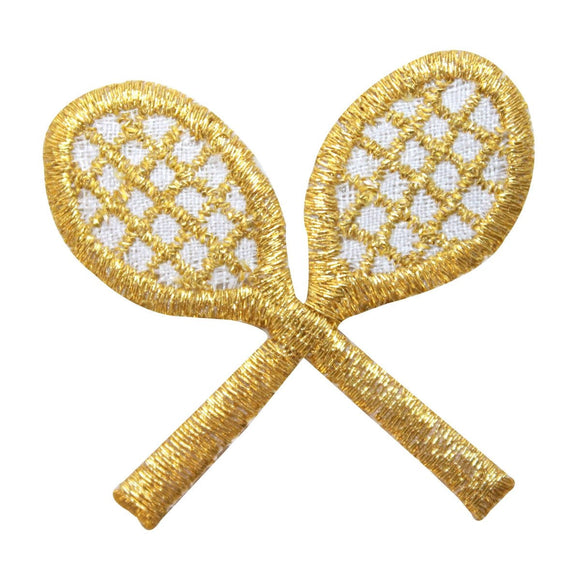 ID 1585B Gold Crossed Tennis Rackets Patch Racquet Embroidered Iron On Applique