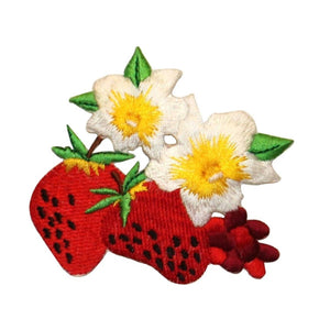 ID 1219Z Strawberries Flowering Patch Summer Fruit Embroidered Iron On Applique