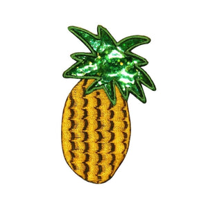 ID 1220X Pineapple With Sequin Patch Tropical Fruit Embroidered Iron On Applique